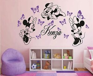 sticker 3 minnie personnalis pr nom fille plusieurs tailles et couleurs dispo ebay. Black Bedroom Furniture Sets. Home Design Ideas