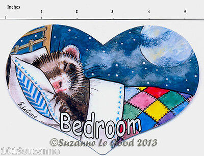 Ferret Polecat Bedroom door sign from original painting by Suzanne Le Good