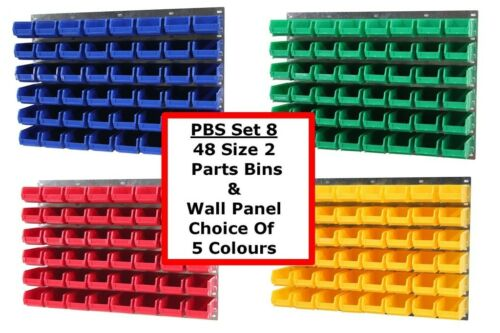 NEW UK Made Plastic Parts Storage Bins Boxes With Steel Wall Louvre Panel  SET 8