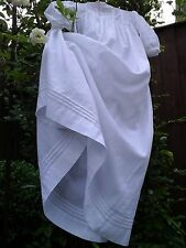 Antique French Baby Christening Gown/Robe~Hand Made White Lawn Cotton/lLace
