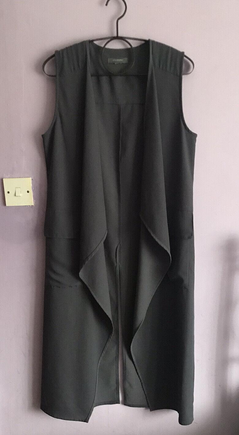 Atmosphere Dark Grey Blue Size UK 12 Waistcoat Long Like Mint Velvet