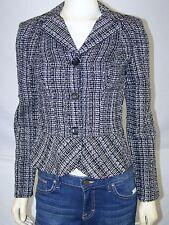 Charlotte Russe Black White Tweed Peplum Blazer Jacket Womens Size Small 4 6