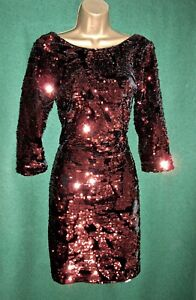 New-MONSOON-10-16-SAMANTHA-Copper-Brown-Sequin-Velvet-Party-Evening-Shift-Dress