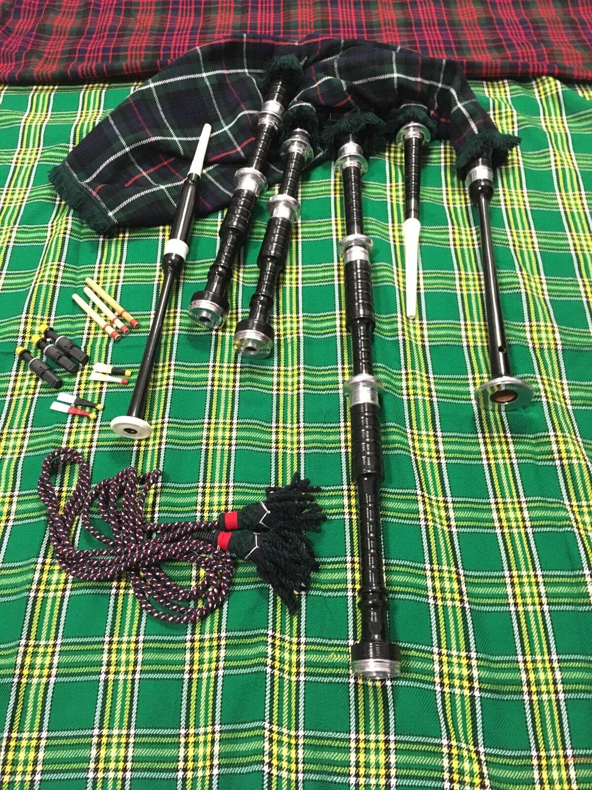 Great Highland Cornamuse Palissandro Tartan Mackenzie una Cavo Metallo argentoo