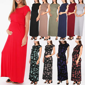 Maternity-Oversized-Stretch-Jersey-Waist-Loose-Long-Maxi-Dress-Party-Size-8-20