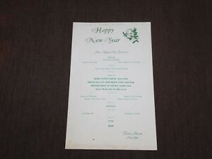 VINTAGE OLD DINING 1956 TOWN HOUSE RANDOLPH NEW YEARS EVE FRANK CROMPTON MENU