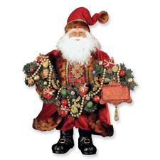 "Karen Didion 20"" Joy Santa Fur Trimmed Coat & Garland New Retired 2009"