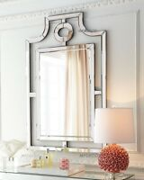 Frameless Chippendale Asian Pagoda Style Wall Mirror Beveled Hollywood Regency