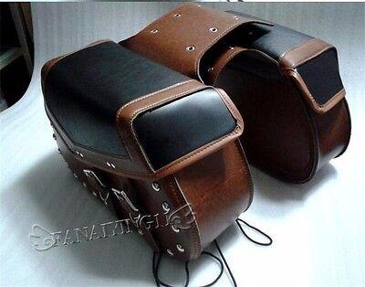 Brown Universal Motorcycle Leather Rider Studded Motorbike Saddle bag MP012
