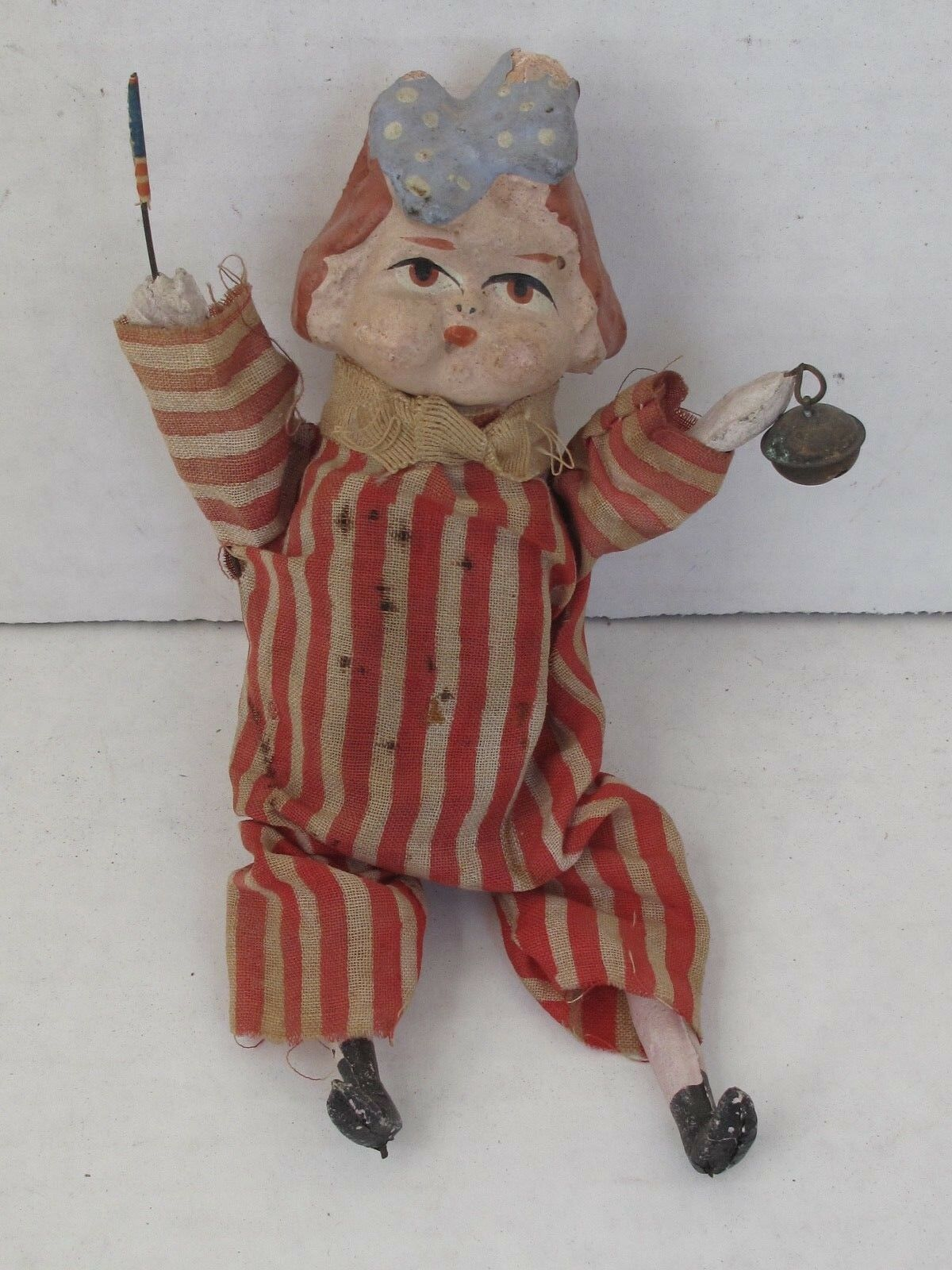 Antique 4th of July Girl Composition and Cloth Squeak Toy