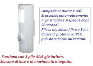 Luce Segnapasso Con Sensore.Dettagli Su 1 Punto Luce Segnapasso Led Con Sensore Passaggio E Crepuscolare Osram 3 Pile