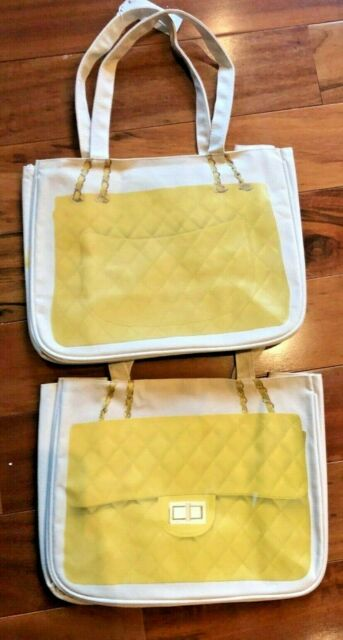 NWT Thursday Friday Canvas  Medium Tote Handbag Graphic Shopping Bag Yellow