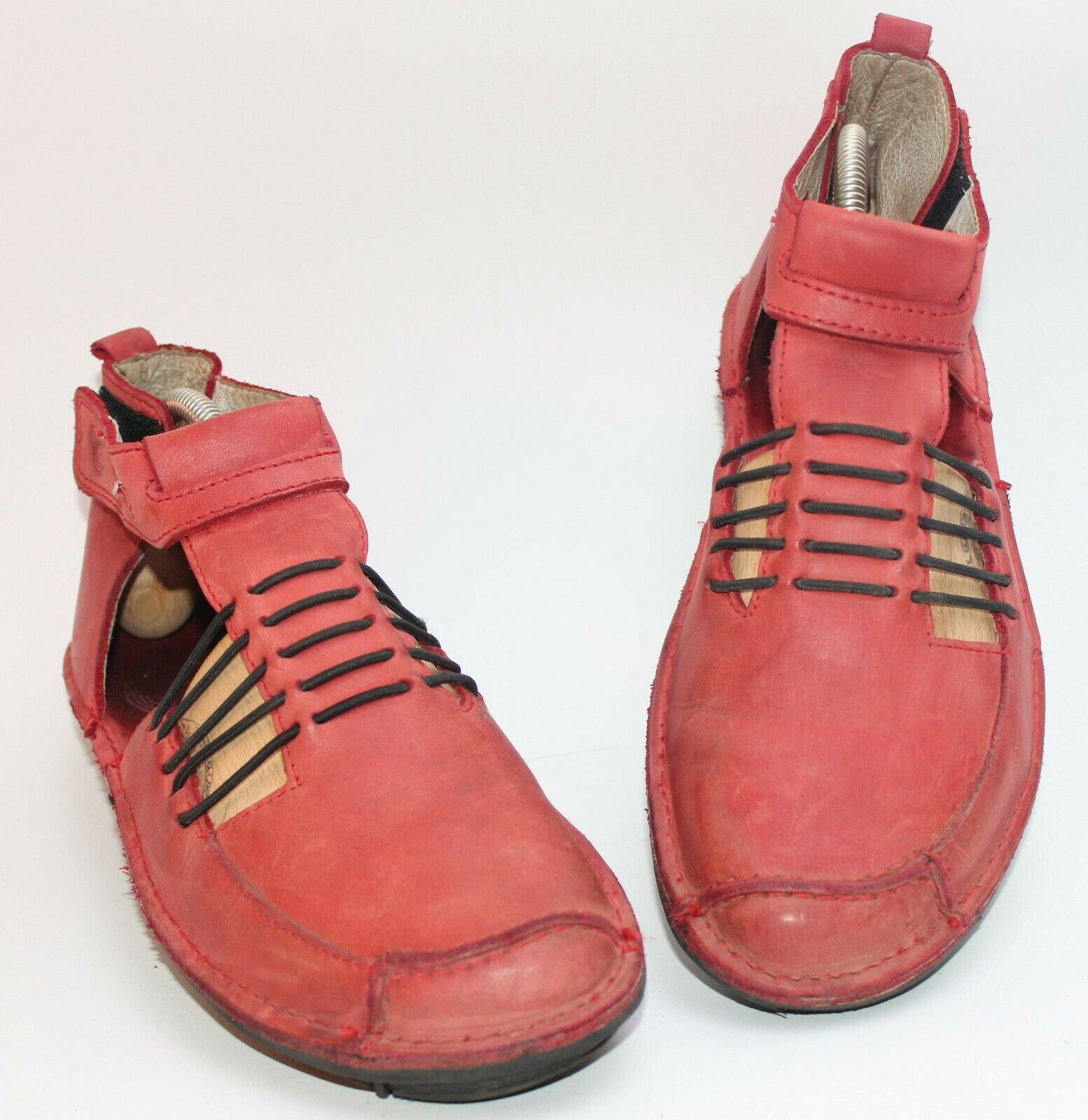DKODE Sommer-Stiefelette Damen Ankle Stiefel Stiefelies Gr. 39 ROT-Schwarz  Leder