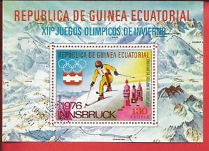 Skiläufer Abfahrt Olympische Spiele Block 159 Äquatorialguinea Knitterfestigkeit Äquatorialguinea