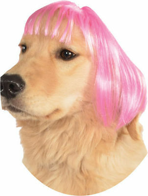 Short Hot Pink Bob Hair Wig w/ Bangs Pet Dog Halloween Costume Accessory SIZED