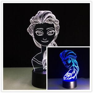 LED Frozen Elsa Tisch Lampe Licht Nachtlicht Nachtleuchte Tischen Bettlampe Neu