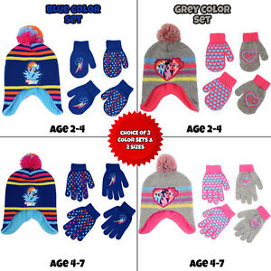 Hasbro-My-Little-Pony-Hat-and-2-Pair-Gloves-or-Mittens-Cold-Weather-Set-Age-2-7