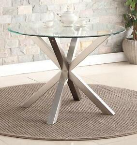 Details About Dining Kitchen Table Round Clear Gl Top 110cm Brushed Stainless Steel Legs