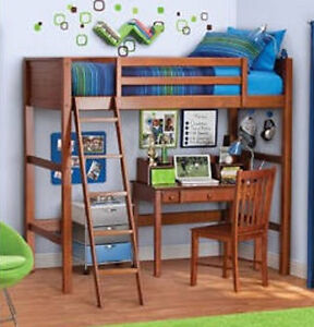 Twin Wood Loft Bunk Bed in Walnut Finish Pine - Great for the dorm - SHIPS FREE
