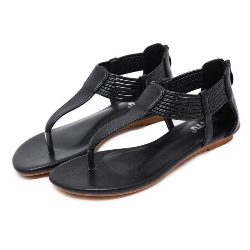 Sandali tacco basso eleganti comodi bassi infradito simil pelle black 1028