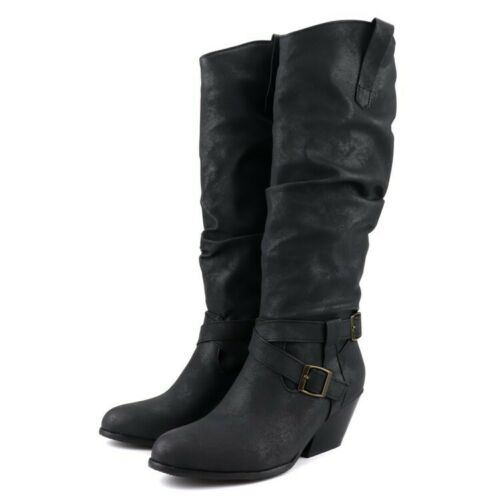 Ladies Block Heels Slouch Chelsea Boots Calf Knee High Boots Knight Shoes Buckle