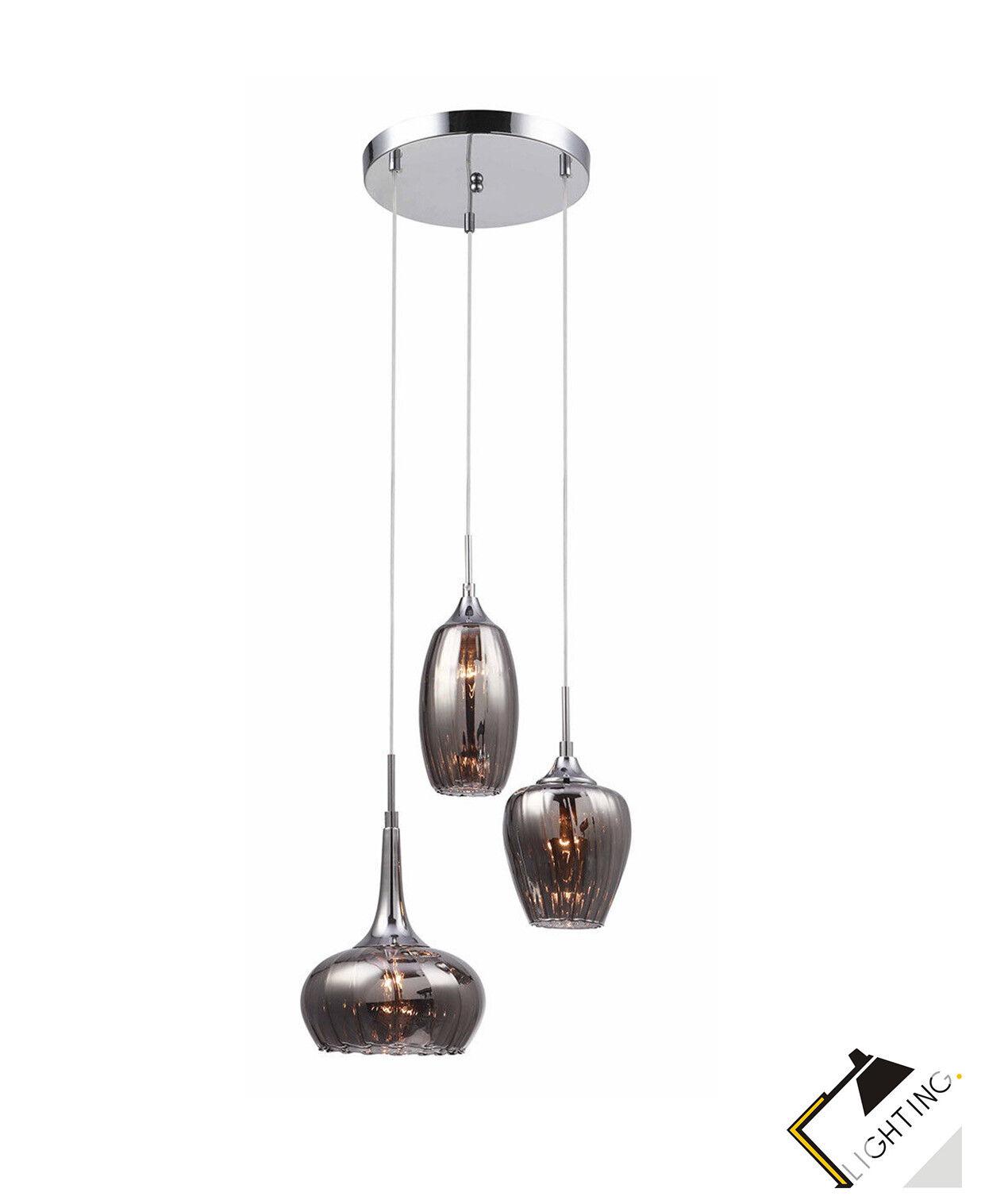 Luminaire Suspendu 3-flammige Lampe Chrome Chrome Lampe / Métal Smoky Verre H100cm Led c4bfe6
