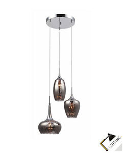 Luminaire-Suspendu-3-flammige-Lampe-Chrome-Metal-Smoky-Verre-H100cm-Led