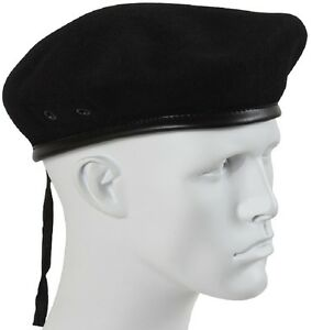 adbb737e3f1df BLACK Military Style Army Eyelets No Flash Wool Beret 95% Wool, 5 ...