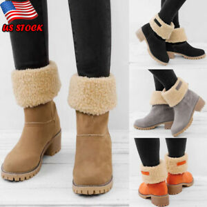 Women-039-s-Suede-Snow-Boots-Winter-Thick-Fur-Lined-Casual-Warm-Ankle-Mid-Calf-Shoes