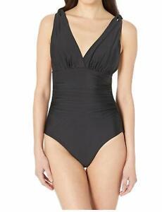 Athena Womens Swimwear Deep Black Size 10 Surplice Solid One-Piece  $149 717