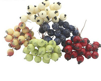 50pcs mini plastic small berries Artificial flower stamens cherry pearlescent
