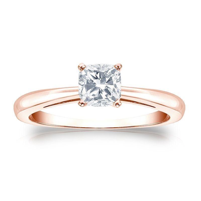 Stunning 1 4 Cts Cushion Cut Natural Diamond Ring In Fine Hallmark 18K pink gold
