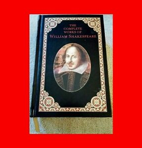 RARE-LEATHER-BOUND-22K-GOLD-EDGE-BOOK-THE-COMPLETE-WORKS-OF-WILLIAM-SHAKESPEARE