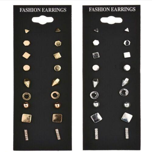 9 Paires Pack Set Ear Stud Vintage Boucles d/'oreilles Set Femme Punk Géométrique