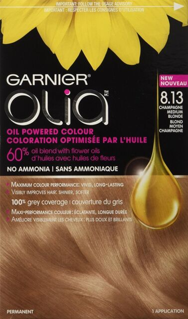 Garnier Olia Permanent Oil Powered Hair Color, # 8.13 Champagne Medium Blonde