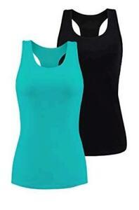 beautyin Women Basic Racerback Tank Top Shelf Bra Undershirt, Black, Size Large
