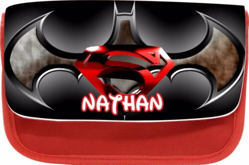 PERSONALISED BATMAN VS SUPERMAN ZIPPED PENCIL MAKEUP CASE SCHOOL DS BAG  XMAS