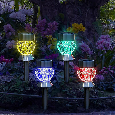 4//8//12 Stainless Steel Garden Diamond Stake Lights Solar Powered Border Lanterns