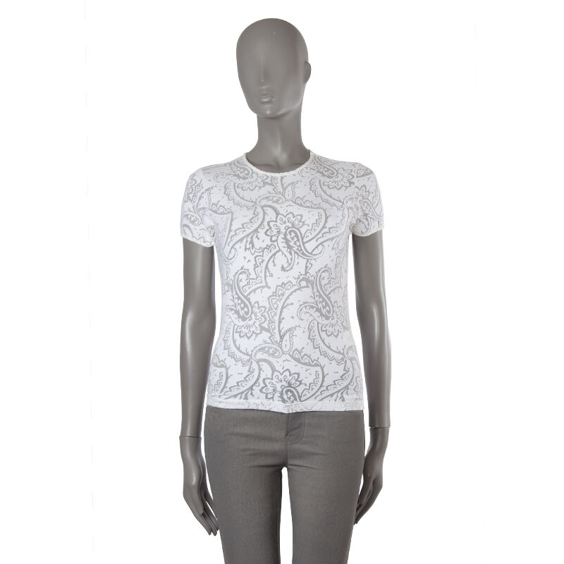 42022 auth ETRO white cotton SHEER PAISLEY T-Shirt Shirt L