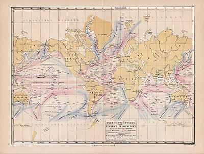 Meeresstromungen Tiefenlotung Karte Von 1876 Ozeanologie Golfstrom