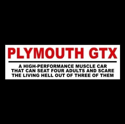 """1967 1968 1969 1970 1971 sports Funny /""""PLYMOUTH GTX/"""" decal STICKER muscle car"""