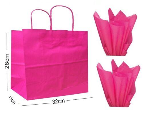 Rose Vif Paysage Grand Papier Fête Sac Cadeau ~ Boutique Magasin Sac & Tissu
