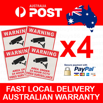 Video Security Sign X4 CCTV Camera Warning Stickers Surveillance Vinyl Decal