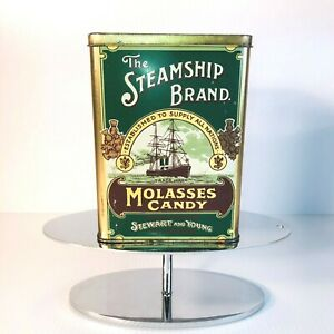 Vintage The Steamship Brand Molasses Candy Stewart & Young Tin Made in England