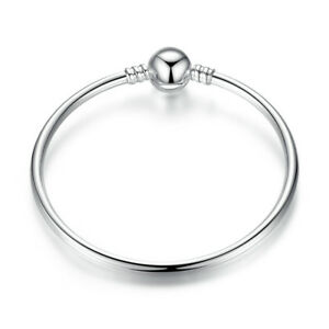 Solid-925-Sterling-Silver-Bracelet-Bangle-Fits-European-Charms-Bead