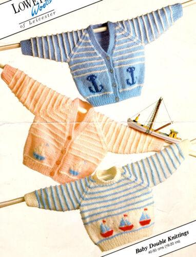 "Nautical Boat Anchor Motif Baby Cardigans /& Sweater 16-20/"" DK Knitting Pattern"