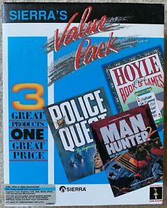 "RARE Sierra Big Box 3-PACK Police Quest 2 Man Hunter 2 Hoyle PC DOS 5.25"" & 3.5"""