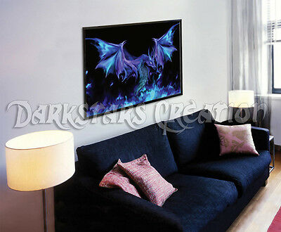 Blue Fire Spirit Dragon - Limited Edition Art Print - Darkstars Creation