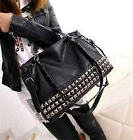 Womens Leather Stud Tote Shopping Handbag New Fashion Rivet Shoulder Bags 47#