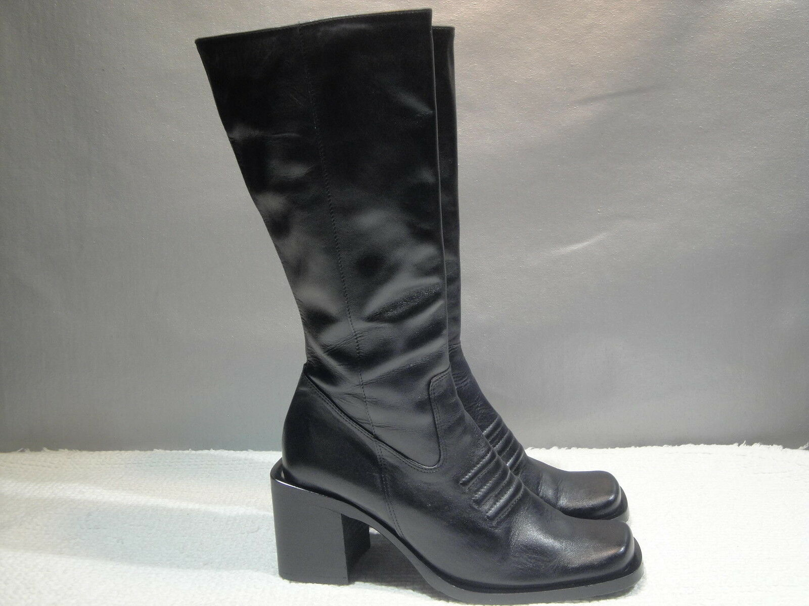 WOMENS 6 KENNETH COLE REACTION GIDDY-UP BLACK LEATHER FASHION TALL RIDING BOOTS